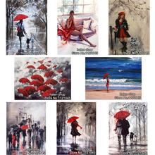 DIY Diamond Painting Cross Stitch Wall Sticker Diamond Embroidery Square Diamond Mosaic Pictures Crafts umbrellas beauty GT379(China)