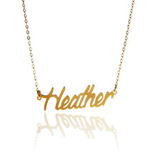 "AOLOSHOW Necklace Script Letter Name Necklace "" Heather "" Women Gold color Stainless Steel Pendant Nameplate Necklace ,NL-2404"