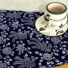Country Style upholstery thick cotton material home decor indigo cotton print fabric 50*140cm sold by half a meter