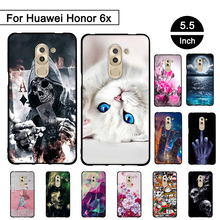 For Huawei Honor 6x Case Soft Silicone Back Black Cover for Huawei Honor 6 X GR5 2017 TPU Phone Cases For Huawei Mate 9 Lite Bag(China)