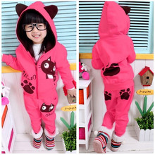 SAMGAMI BABY Autumn and spring outswear hello kitty child set plus velvet cotton with hoodie female lovely cat child twinset