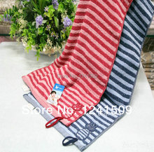Free Shipping!!2015 Big Promotion Brand Towel Cotton 33x72cm 2 Color Blue,Red Stripe Towel  High Quality Soft Towels 9