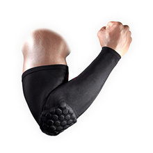 High Elastic Gym Sports Long Arm Sleeve Support Basketball Shooting Honeycomb Sport Elbow Arm Warmers Pad for Men Free Shipping
