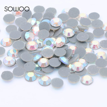 1440pcs/lot Eco-friendly lead free Lower 90PPM Hot Fix Rhinestone Round Crystal AB Color Iron on Rhinestone baby studs(China)