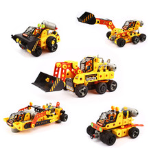 Electric Building Blocks Bulldozer 207pcs Engineering Car Aircraft Model Toys Bricks Figure Transformation Toy Kits Compatible