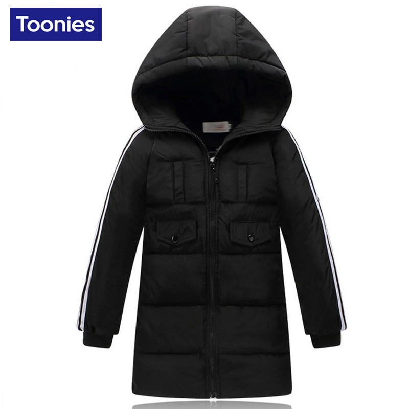 2017 Brand New Long Section Children Down Coat Hooded Zipper Winter Baby Coats Casual Boys Outerwear Clothing Black Red YellowОдежда и ак�е��уары<br><br><br>Aliexpress
