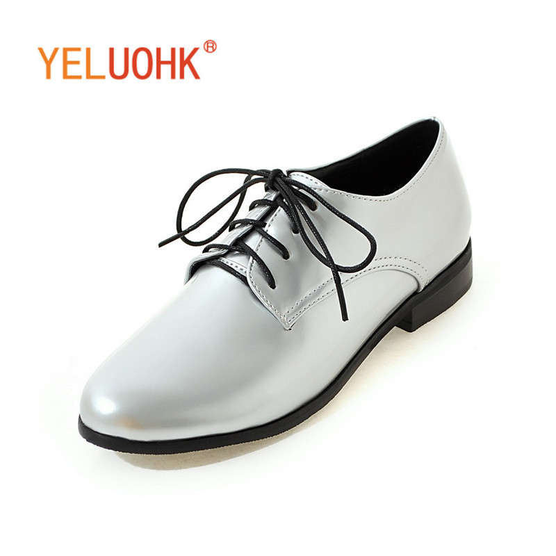34-44 Oxfords Shoes For Women Patent Leather Flat Shoes Women Big Size Women Shoes Spring Autumn<br>