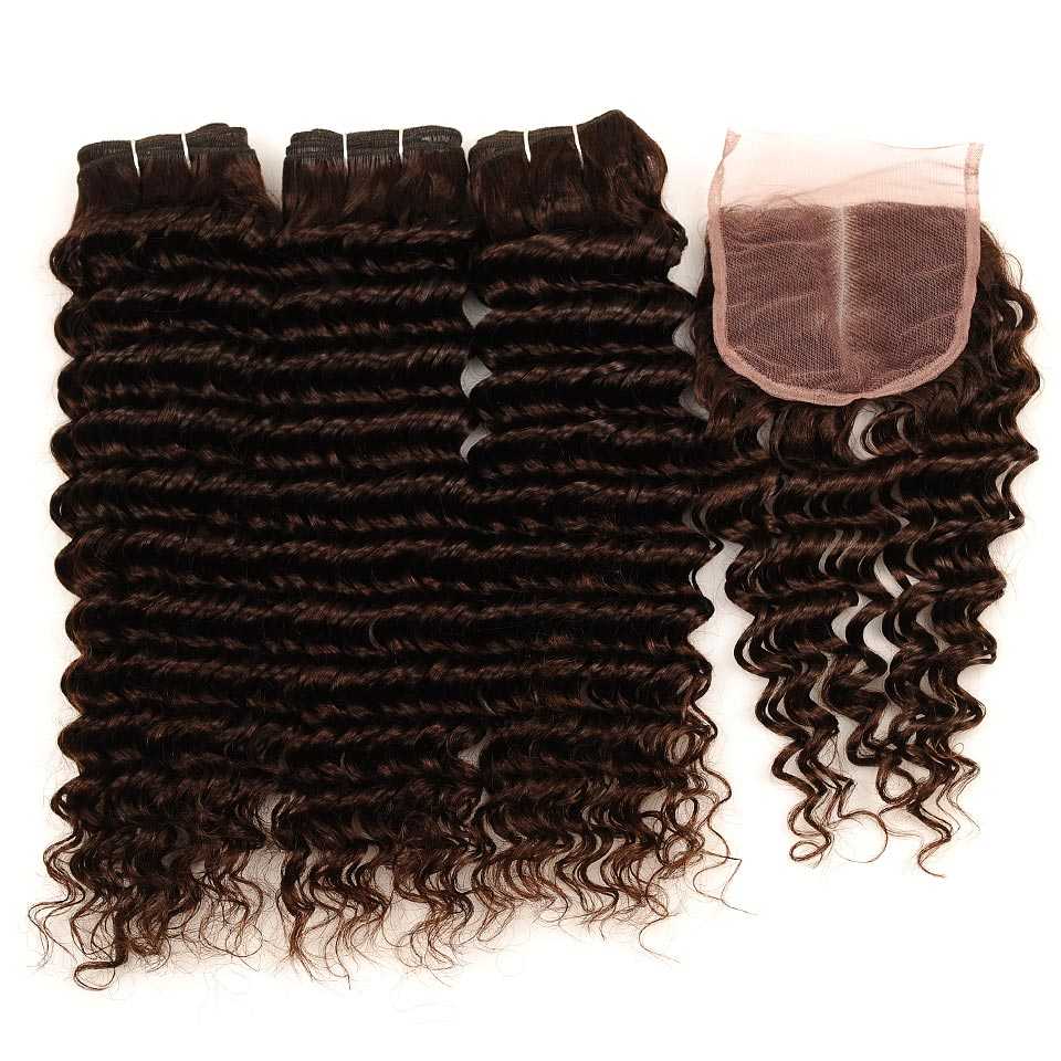 Brown #4 Brazilian Deep Wave Hair 3 Bundles With Closure Deal Pinshair Human Hair Weave Bundle With Middle Part Closure Non Remy (45)