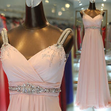 Real Sample Photo Blush Pink Pink Prom Dress with Sparkly Straps Crystal Beaded Belt Chiffon Formal Evening Gown