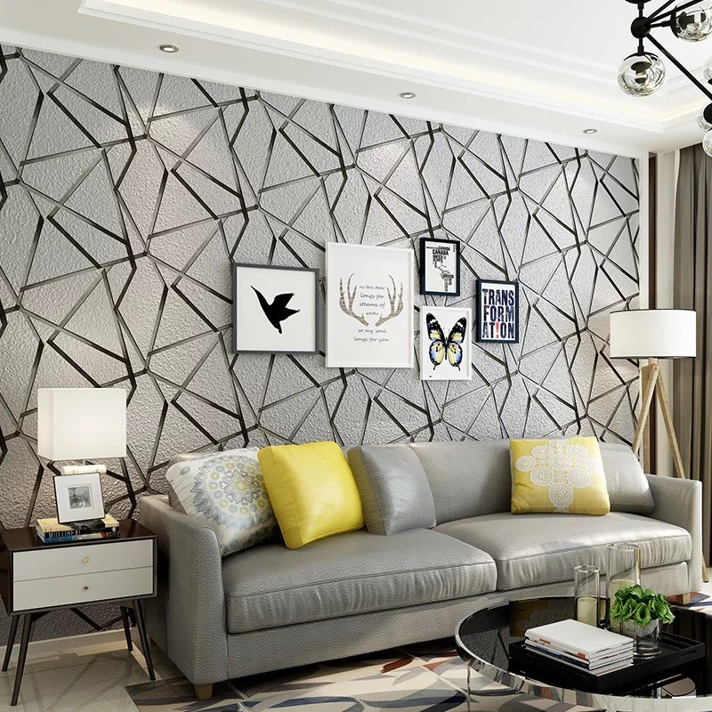 3D Embossed Wallpaper Modern Geometric Thickened Non-Woven Flocking Wallpaper Living Room Backdrop Wall Papers Roll Home Decor <br>