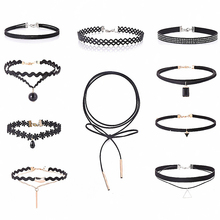 Charm Black Velvet Lace Daisy strip Multilayers pendant Choker Necklace woman Collar Party Jewelry Neck accessories