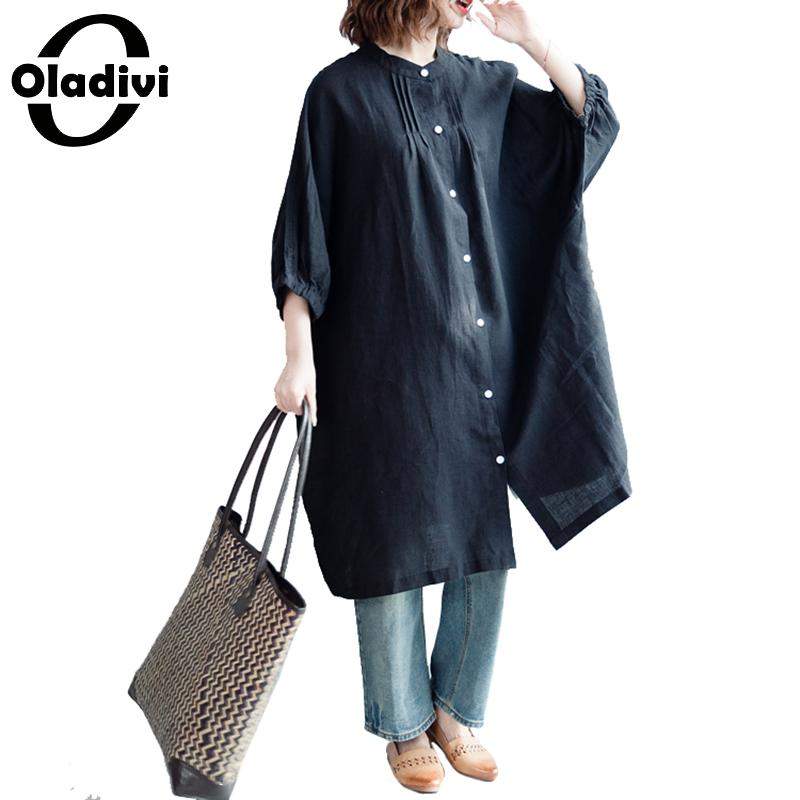 Oladivi Brand Oversized Shirt Plus Size Women Clothing Ladies Casual Loose Blouse Long Top Tees Tunics Female Casual Loose Blusa