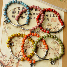 2017 Hot Fashion Wholesale National Wind Ceramic Bracelet Jewelry Flower Glaze Beads Bracelet Female Gift Models Retro Style(China)