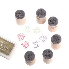 CCINEE 6 Styles Teacher Reviews Wood Stamp 3cmx3cmx5cm Size Used For Christmas Gift Decoration Wooden Rubber Stamp