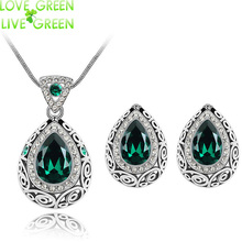 2017 wholesale  fashion wedding party gift brand bridal  crystal queen water drop pendant necklace earrings jewelry set 84191