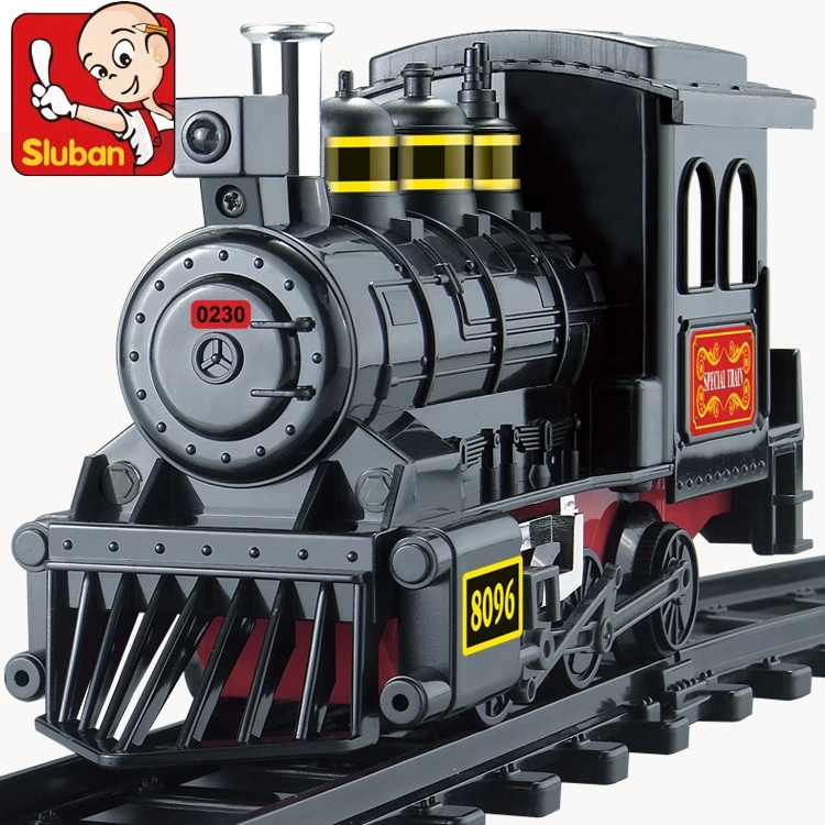 SLUBAN 2017 NEW assembling blocks 1 Stevenson locomotive M38-B0231 century train station track toys for children free shipping<br>