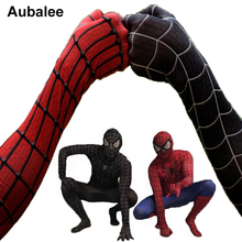 Black Red Spider-man Costume Men Adult Spiderman Cosplay Suit Spandex Superhero Costume With Mask Halloween Party Zentai Suit(China)