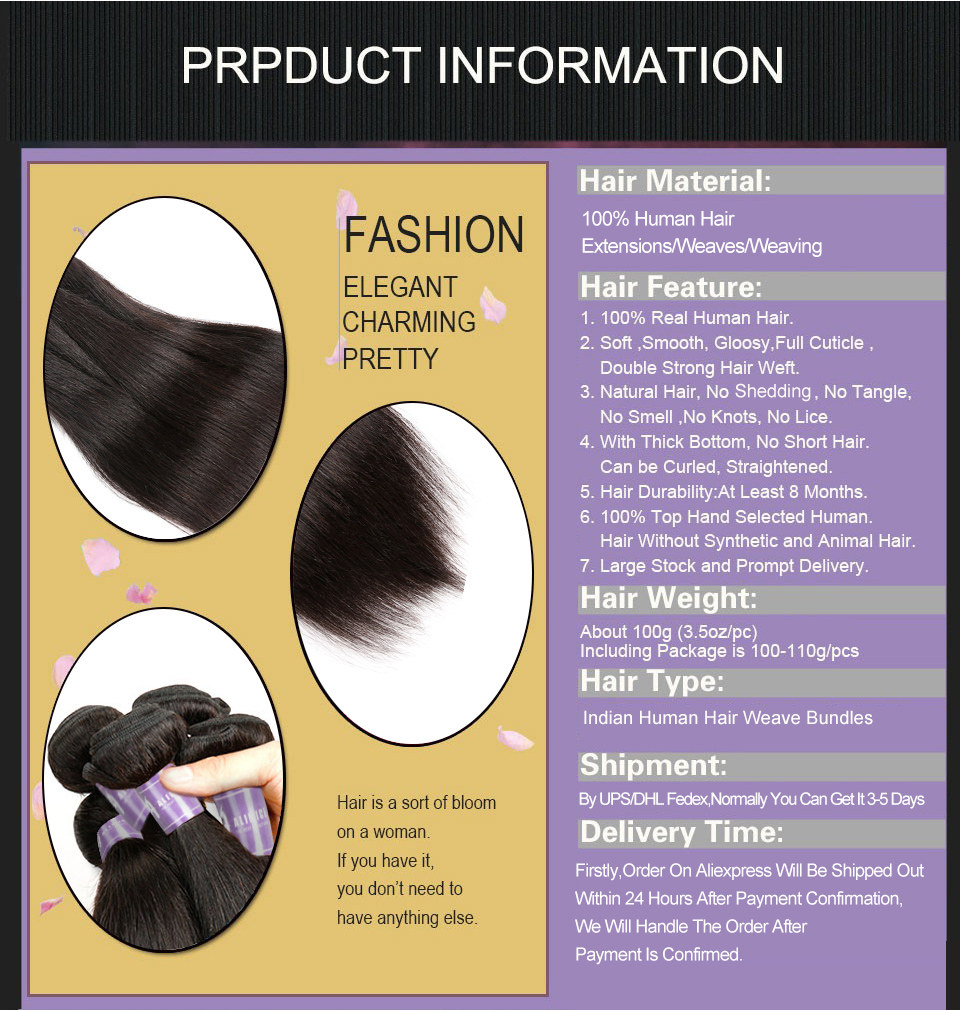 Indian Straight Hair Bundles Human Hair Weave Bundles Non-Remy Hair Extensions Alimice Hair Weaving Double Weft Natural Color (8)
