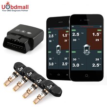 Bluetooth 4.0 OBD 2 TPMS Tire Pressure Monitoring System with 4 internal/external sensors support for android iphone phone