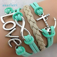 saatleri 2017 Fashion Bracelet  Handmade Adjustable Love Anchor Charms Multilayer Bracelet Wristband Jewelry Gifts #Sali0501