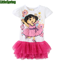 LittleSpring Retail Girls Dresses! Girl Dora suit the princess dress girls clothing Short sleeve dress