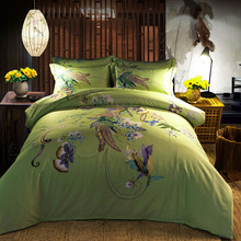 New hot queen king size 100%cotton Bohemian Boho Style colourful green bedding sets duvet cover bed sheet discount Home textile