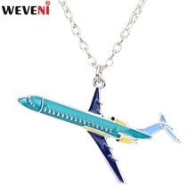 WEVENI Original Statement Plane Model Necklace Pendant Metal Collar Chain Newest Fashion Accessories Enamel Jewelry For Women(China)