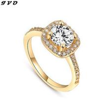 Gold Color Wedding Rings For Women Square Simulated Diamond Jewelry Bague Bijoux Femme Engagement ring AccessoriesASR035