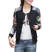 USPS Women Printed Short clothing Coat Womens Autumn Winter Floral Print Coat Jacket Outwear Baseball Clothes Baseball Jerseys(China)