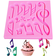 M272 Music Notes Shape Silicone Mold, For Fondant Cake Mold, Bakware Tools, Soap Mold ,Sugar Tool 11*11*0.8cm(China)