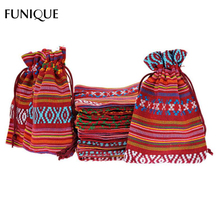 FUNIQUE 10x14cm Cotton Jewelry Bags 10Pcs Ethnic Gift Bags Yellow Stripe Tribal Tribe Drawstring Bags Christmas Jewelry Pouches