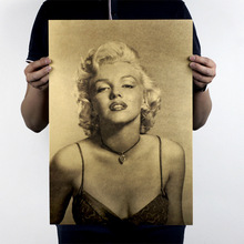 51x36cm Marilyn Monroe Hollywood Goddess Star Beauty Kraft Paper Bar Poster Retro Poster Decorative Painting Wall Stickers(China)