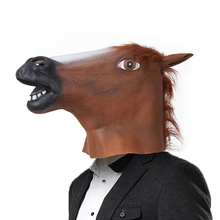 Creepy full face head Horse mask Rubber Animal Mask Fur Mane Latex Realistic Crazy Super Creepy Party Halloween Costume Mask