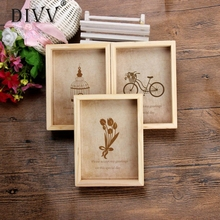 DIVV Top Grand 13*9.7*3.3cm Family Vintage Photo Frame Home Decor Wooden Wedding Pictures Frames Vinatage Family Frame