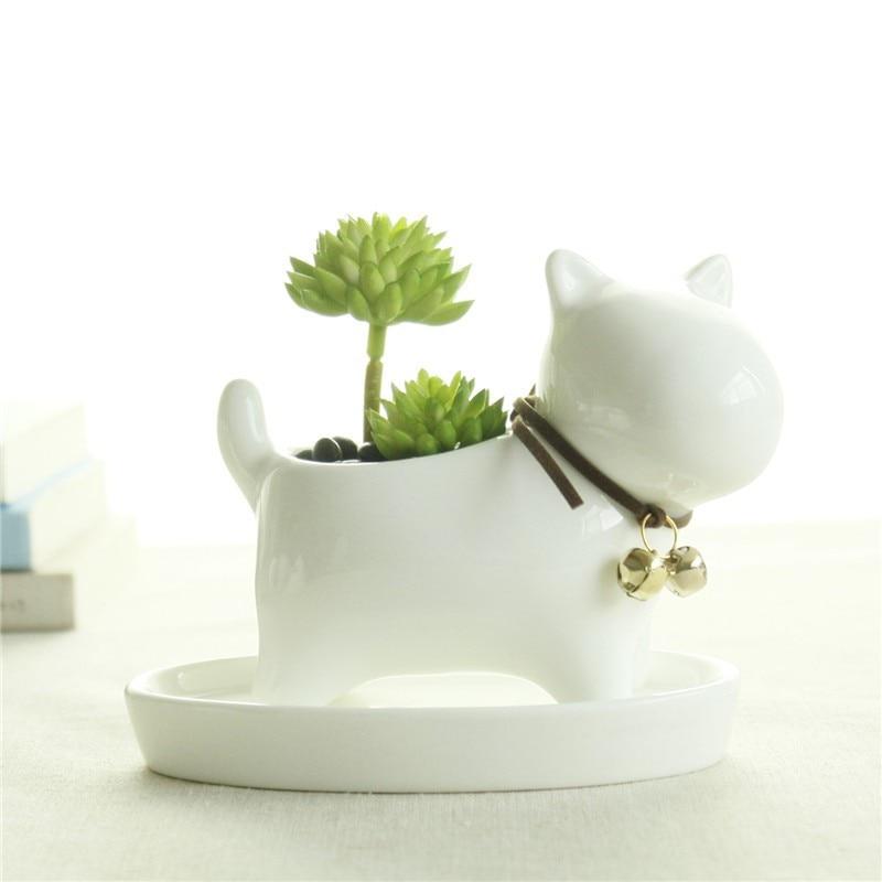 Cute Animal Potted Flowers Gardening Succulents Planter Pot White Ceramic Flowerpot Lovely Animal Succulent Plants Flowerpot 17