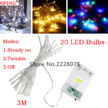 AIFENG 3M 20 LED String Lights Battery Operated lights for Holiday,Christmas,Wedding,Indoor&Outdoor Decoration with 3 modes