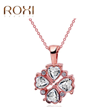 2017 Necklaces & Pendants Lucky Clover Rose Gold Crystal Necklace Bijoux Femme Statement Set Collares Mujer(China)