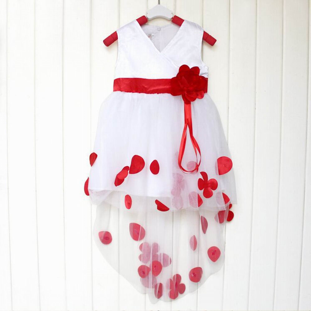 2017 New Year Christmas Baby Girls Kids Lolita Style Sleeveless V-neck Solid Flower Petals Party Wedding Prom Fancy Dress <br><br>Aliexpress