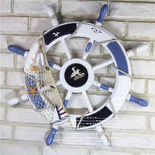 62cm*62cm Wooden Boat Ship Rudder Large Anchor Steering Wheel Nautical Decor Retro Rudder Wall Decoration For Shop Home(China)