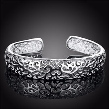 SALE Statement Jewelry High Quality C Cuff Silver Hollow Bangle Crave Flower Bangle Bracelets & Bangles For Women Gift B574