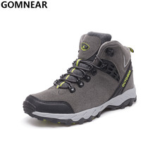 GOMNEAR Winter Men's Hiking Boots Plus cotton Outdoor Walking Trekking Climbing Athletic Shoes Mountain Hiking Hunting Chaussure