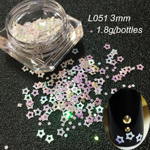 Five-pointed Star 3D Nail Glitter 3mm Colourful Stone Hollow Sequins Nail Tip Decorations DIY Manicure Five star flash powder(China)