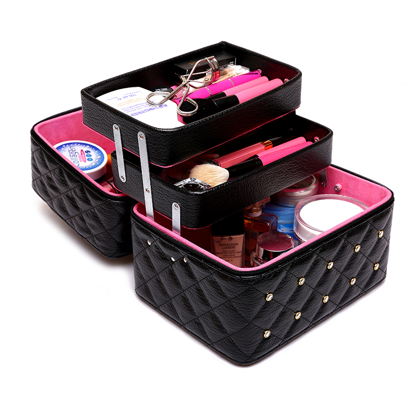Female Folding Layers Professional Makeup Bag High Quality Diamonds Cosmetic Box Travel Storage Case Large Capacity Suitcase<br>