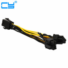 2PC 6inch Molex 6-pin PCI Express to 2 x PCIe 8 (6+2) pin Motherboard Graphics Video Card PCI-e GPU VGA Splitter Hub Power Cable(China)