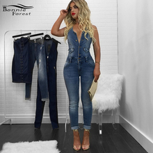 Bonie Forest 2017 Street Style Sleeveless Denim Jumper Sexy Summer Backless Blue Jumpsuit Denim Overalls Pockets Jeans Rompers