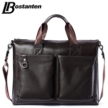 Bostanten Men Briefcase 2017 New Soft Leather Handbags Men Shoulder Messenger Bag Crossbody Bag Travel Bag Leather Laptop Bag