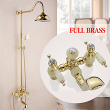 "Shower Faucets New Marble Golden Bath Shower Set Brass Wall Mounted 8"" Rain Shower & Handshower Faucet Set for Bath OG-223(China)"