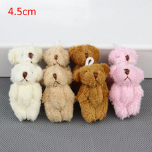 H-4.5cm Mini Stuffed Jointed Bear,Teddy Bear Long wool bears,plush toys for cartoon bouquet 4color 100pcs/lot(China)