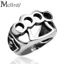 Mcllroy Rock Band ring Heavy metal band Stainless steel Men Boxing rings Personality cosplay rings Punk style Rock jewelry anel(China)