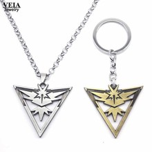 2016 New Pokemon Go Metal Necklace Game Team Instinct Logo Silver Bronze Chain Necklace Pendant Keychain for Women and Men fans(China)